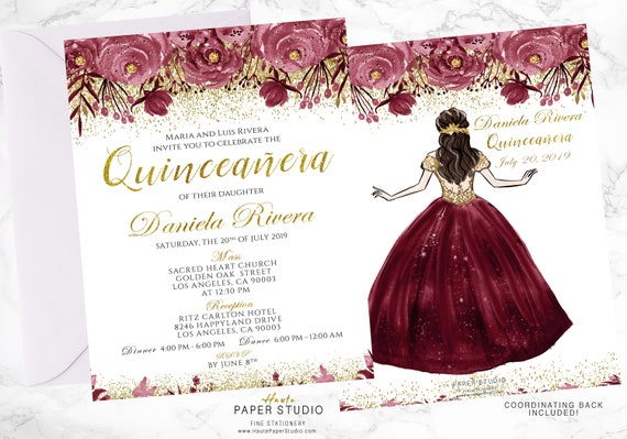 Quinceanera Personalized Floral Spanish Invitation Milestone