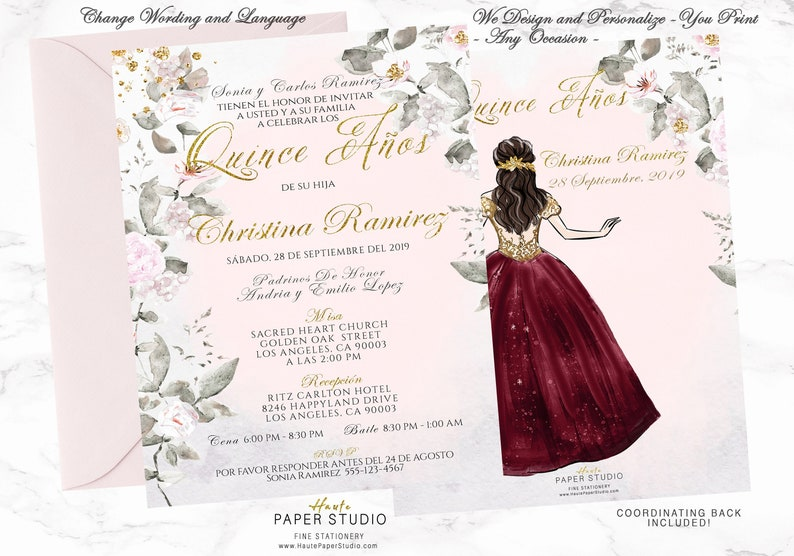 b8eb818b8a Gold Burgundy Quinceanera Invitation Quince Gold Sweet 16