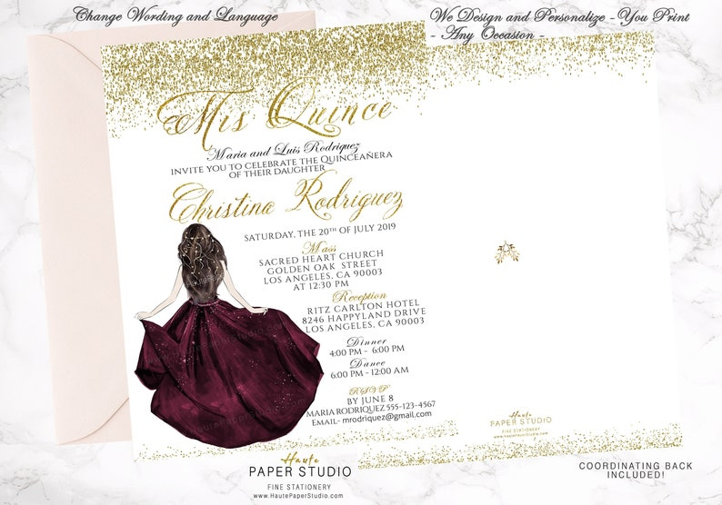 d1ceb5d5f7 Quince Años Invite Burgundy Quince Gold Quinceanera Sweet 16