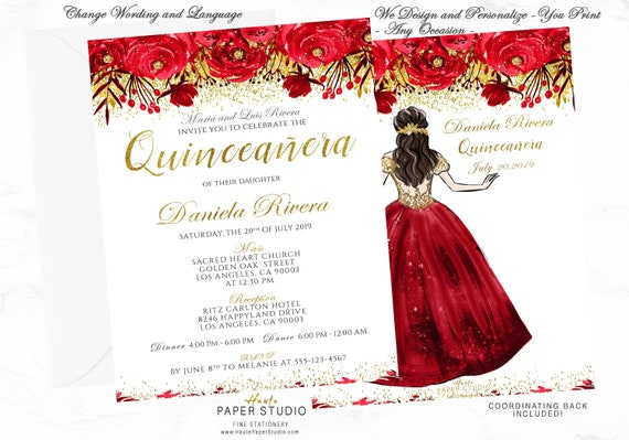 red gold quinceanera invitation gold red sweet 16