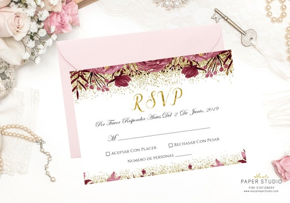 spanish rsvp card wedding rsvp card rsvp insert rsvp