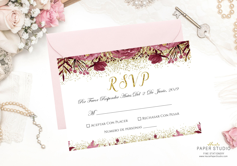 Wedding Rsvp: Spanish RSVP Card Wedding RSVP Card Rsvp Insert RSVP