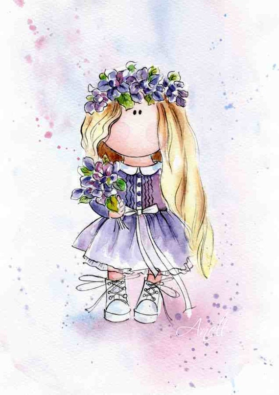 watercolor print little blonde haired girl violet princess painting poster  wall baby. b472e14fc120