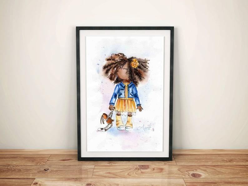 Impression Papier Aquarelle Art Africain Américain Peinture | Etsy