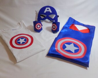 Personalized Captain America Set Shirt Cape Mask And Cuffs Birthday Gift Gifts Superhero