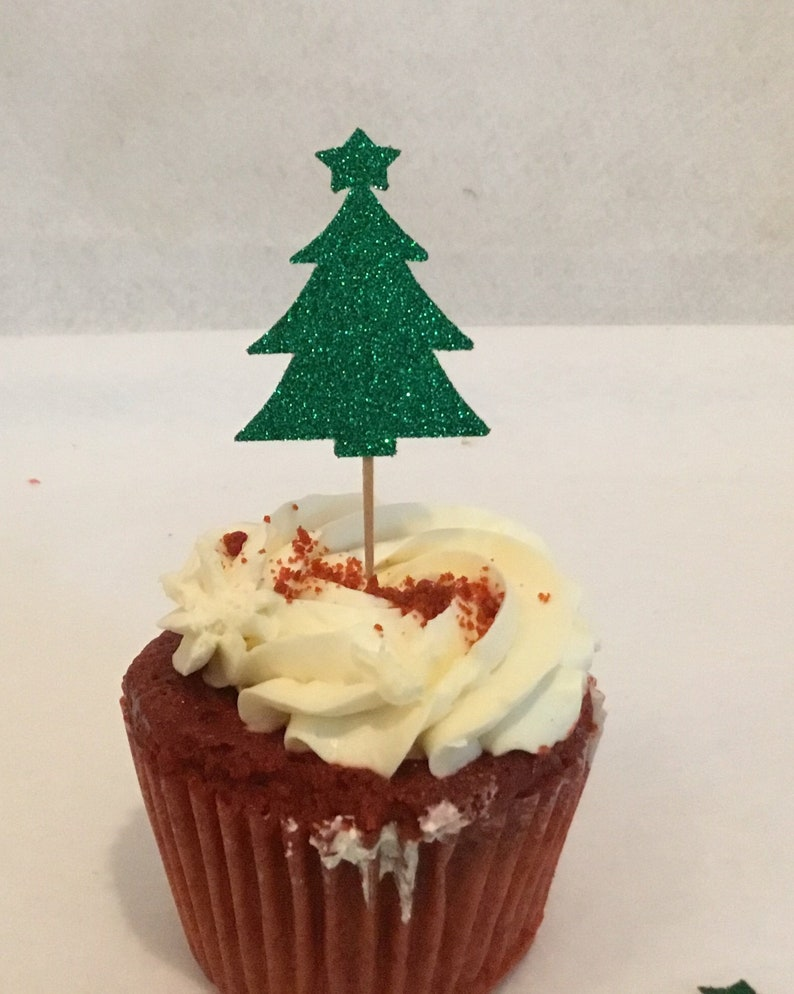 Christmas Tree Cupcake Topper Tree Food Picks Christmas Party Decorations Holiday Party Cupcake Toppers