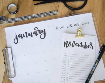 Hand Lettered 2018 Calendar