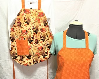 Fall Everyday Reversible Aprons, Adult and Child, Orange Holiday Turkeys aprons, Cooking aprons, Kitchenware, Housewares, Holiday cooking