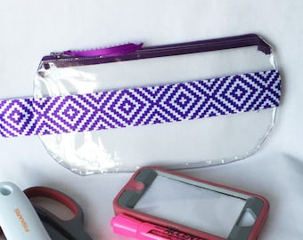 See Thru Clear Pouch, Purple Diamond Satin Ribbon Clear Vinyl Zipper pouch, Cosmetic, Accessory, Pencil Pouch,