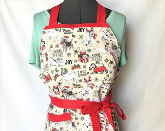 Reversible Doggy Christmas and Love Labels Aprons, Posh Labels Red and Cream, Adult-Child Aprons,, Kitchenware, Housewares, Holiday cooking