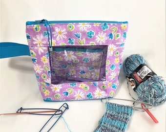 Small Purple and Teal Floral See-Thru Project Bag, Knitting/Crochet Window,  Travel, Cosmetic, Toiletry Bag, Clear Window Pouch, Toy Pouch