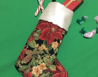 Poinsettia Christmas Stockings, Large Christmas Stocking, PolySatin Cuff Xmas Stocking, Home Decor, Holiday Decoration, Child Stocking