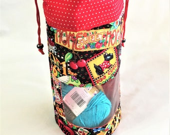 Custom Fun Drawstring Project Bag, Mary Engelbreit Knitting/Crochet Project Bag, Travel, Toiletry Bag, Optional Clear Window Pouch