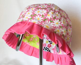 Toddler Baby Girl Sun Hat, Child's Reversible Pink Summer Ruffle Hat, Floral Baby Girl Sun Hat, Cruise Clothing,