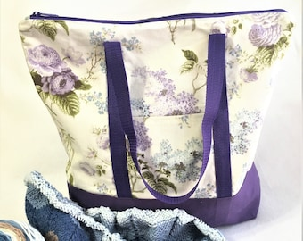 Extra Large Purple Floral Canvas Tote Bag, Knit/ Crochet Project Bag, Beach Travel Tote, Shopping Carry All, Crafting Tote Bag, Canvas Bag