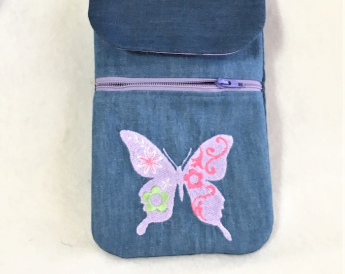 Featured listing image: Embroidered Lavender Butterfly Denim Cell Phone Pouch,  Cell Phone Pouch, Cross Body Zipper Cell Phone Pouch, Pocket Cell Phone Pouch