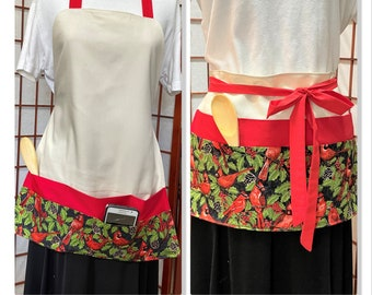 Holiday Cardinals Crafters & Vendor Full Apron, Canvas Big Pocket Apron, Craft Show Money Supplies Apron, Housework, Teachers Work Apron