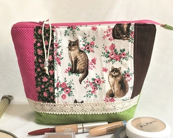 Regal Cats Cosmetic Pouch, Wedge Zipper pouch, Extended zipper opening pouch, Pink Flowers, Crochet Lace Trim, Knit Project Zipper Pouch