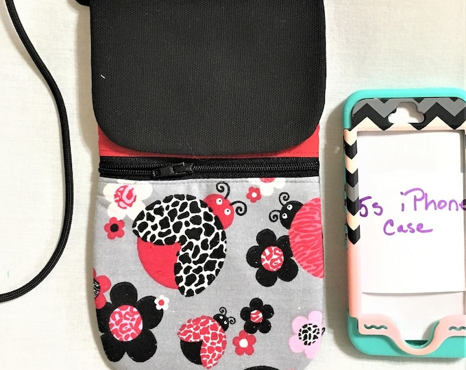Featured listing image: Fun Ladybug Cell Phone Pouch, Black Zipper and Cord Cell Phone Pouch,  Phone Neck Holder, Cross Body Phone Pouch, Passport and Phone Pouch