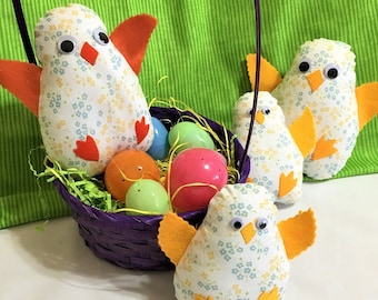 Stuffed White Easter Baby Chicks, Soft Fabric Easter Basket Decor, Spring Time Stuffed Toy, Fun Child's Gift