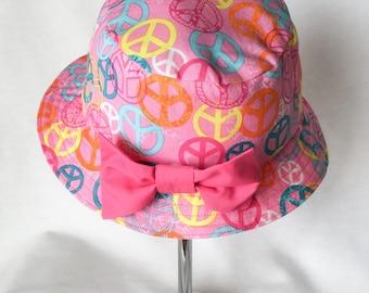 Pink Toddler Sun Cap, Child's Peace Sign Summer Bucket Hat, Toddler Girl Cap,