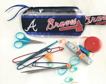 Braves Baseball Ribbon Clear Vinyl Zipper pouch, Cosmetic, Accessory, Pencil Pouch