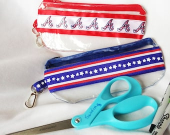 Atlanta Braves, Stars and Stripes Large Clear Vinyl Zipper pouch, Cosmetic, Pencil Pouch