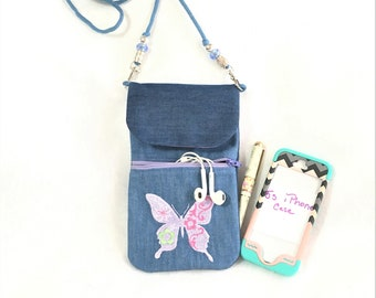 Embroidered Lavender Butterfly Denim Cell Phone Pouch,  Cell Phone Pouch, Cross Body Zipper Cell Phone Pouch, Pocket Cell Phone Pouch