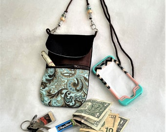Lovely Teal Paisley Plumes Phone Pouch, Practical Purse With Brown Neck Cord, Zipper Pouch, Card Holder, Mom's Cross Body Cell Phone Pouch