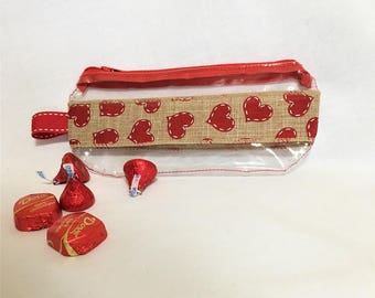 Medium Red Hearts Burlap Ribbon Clear Vinyl Zipper pouch, Hearts Cosmetic, Accessory, Pencil Pouch, Valentines Day Clear Pouch