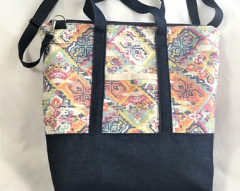 Strong Pretty Canvas And Denim Bag, Zipper Canvas Tote Bag, Knit/ Crochet Project Bag, Beach Travel Tote, Carry All, Crafting Tote Bag,