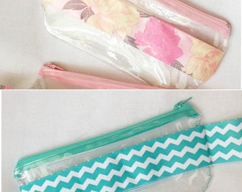 Medium Teal Chevron, Pink Floral Ribbon, Teal Anchor Ribbon  Clear Vinyl Zipper pouch, Cosmetic, Accessory, Pencil Pouch,