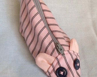 Zippy Zoo Pink Striped Mouse Shaped Small Zipper Pouch, Knitting/Crochet Project Accessory Bag