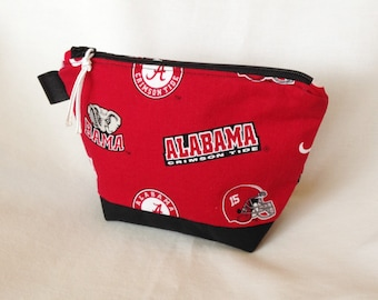 Alabama University Toiletry Pouch, Cosmetic Wedge pouch, Ear Buds Pouch, Electronics Cords Pouch, University of Alabama Team Zipper Pouch