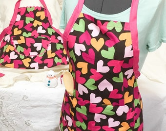 Colorful Hearts Full Size Aprons, Adult and Child Pink Black aprons, Cooking aprons, Kitchenware, Housewares Linen, Holiday cooking