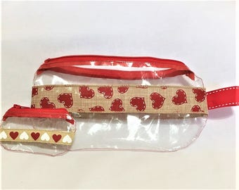 Large Red Hearts Burlap Ribbon Clear Vinyl Zipper pouch, Hearts Cosmetic, Accessory, Pencil Pouch, Valentines Day Clear Pouch