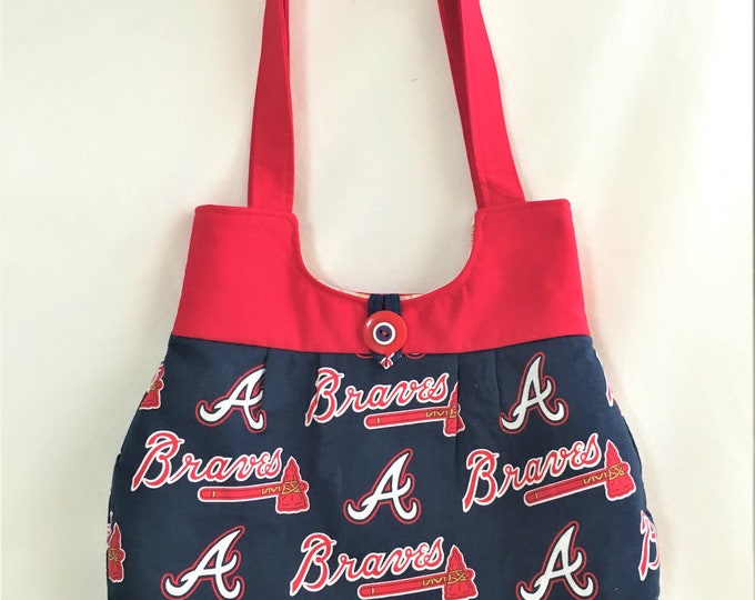Featured listing image: Sports Fabric Fan Handbag, Atlanta Braves Red-Navy Purse, Handmade Bag