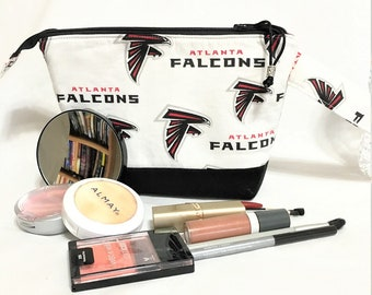 Football Fan Cosmetic Pouch, Atlanta Falcons Football Travel/Toiletry, Small Electronics Pouch, Falcons Knit/Crochet Accessory Zipper Bag