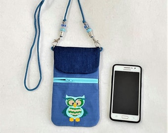 Cute Embroidered Hoot Owl Cell Phone Pouch, Cell Phone Pouch, Cross Body Zipper Cell Phone Pouch, Pocket Cell Phone Pouch