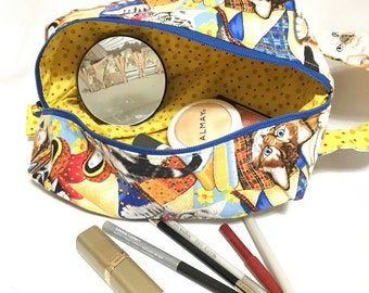 Playful Kittens Colorful Fabric Knitting/Crochet Box Bag, Travel Electronics, Cosmetic or Toiletry Bag, Crafting Project Bag, Easy Carry Bag