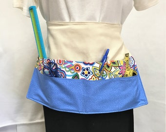 Large Pocket Crafters Apron, Handmade Floral Craft Show Money Apron