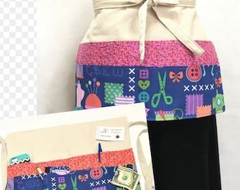 Canvas Crafters Apron, Seven Large Pockets, Craft Vendor Show Money Apron