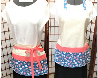 Tea Cups Teal and Pink Big Pocket Apron, Teachers, Festival Vendor Money Apron, Craft or Painting Adult Aprons,Gardening Canvas Duck