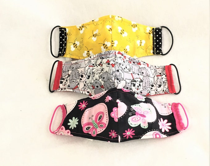 Featured listing image: Child Size Fitted Face Masks, Masks with nose wire fitting, elastic ear straps mask, removable filter pocket, 2-ply cotton mask, washable