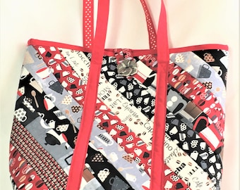 Handmade Quilted Extra Large Strip Tote Bag, Red Black Knit/Crochet Project Bag, Light Travel Tote, Shopping Carry All, Crafting Tote Bag