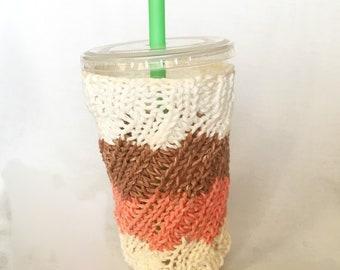 Handmade Knit Orange Brown Cream Smoothie Cozy, Large Hot Or Cold Coffee Cup Cozy, Water Bottle Cozy, Frapp Cup Cozy, NutriBullet Cozy,