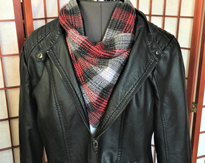 Featured listing image: Scarf Wrap Black Red Grey Plaid, Warm Gator, Handmade Flannel Neck Cowl, Fashion Flannel Fleece Plaid Neck Warmers, Mand Women Neck Gator