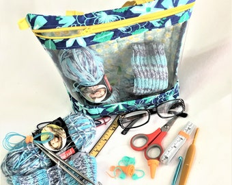 Floral Teal and Yellow Floral See-Thru Project Bag, Knitting/Crochet Window,  Quilted Travel Cosmetic Bag, Clear Window Pouch, Toy Pouch