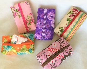 Colorful Personal Tissue Pouch, Cosmetic, Accessory Pouch, Purse Tissue Pouch, Fabric Tissue Holder