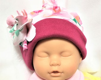 Baby Knit Fabric Hat, Child's Stretchy Cap, Newborn Soft Cap, Stretch Knit Hat, Floral Baby Girl Sun Hat